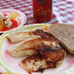 Camping-Dinner-Pan-Fried-Tilapia-Tomato-Salad-and-Homemade-Bread