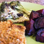 Salmon-Loaf-and-grilled-broccoli-beets