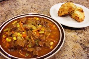 Beef Stew and Cheddar-Chive Drop Biscuits