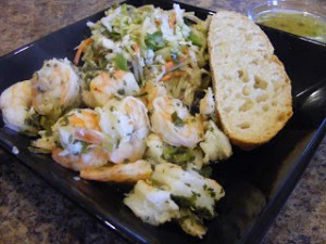 Grilled Shrimp Scampi, served